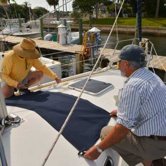 Afternoon boat projects -- making a shade for front fixed port
