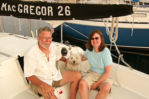 Bob, Angus and Sherry on our first sailboat...