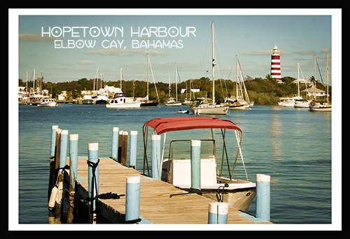 hopetown harbour postcard-black