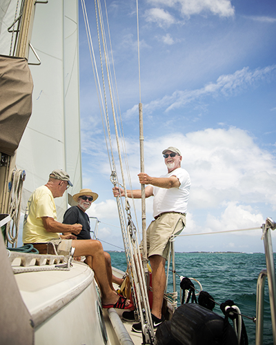 mike and crew sailing to guana