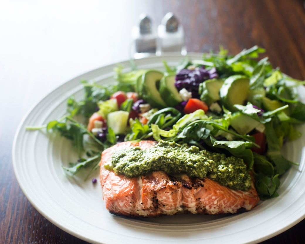 arugula pesto and salmon